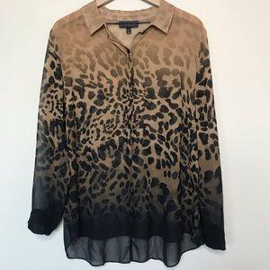 Lane Bryant Cheetah Print Button Down Blouse
